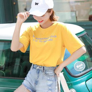 全棉短袖T恤女夏季体恤百搭宽松版