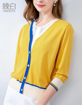 夏季新品时尚休闲空调衫休闲百搭纯色针织开衫夏季时尚休闲长袖针织空调衫