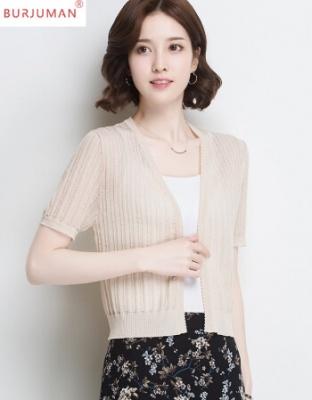 新款夏装女装轻奢冰丝针织空调衫镂空短袖开衫坎肩外套夏季薄短款小披肩外搭空调衫