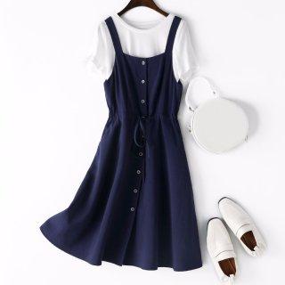 女式单排扣背带套装连衣裙