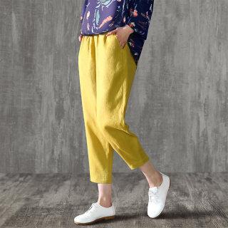 棉麻女亚麻奶奶裤哈伦裤宽松裤子女裤休闲裤萝卜裤九分裤夏小脚裤