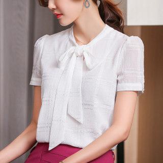 2019夏装新款职业女装衬衫时尚百搭夏季韩版上衣白色短袖女雪纺衫