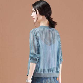 开衫薄款女夏季2019新款韩版百搭休闲空调衫外套雪纺上衣