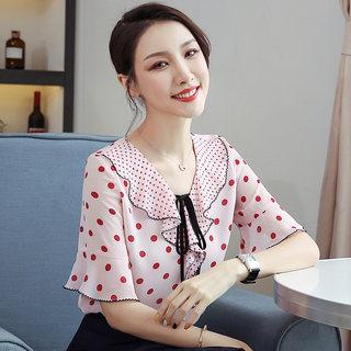 2019夏装新款女装韩版大码雪纺短袖上衣女夏季系带雪纺女款短袖雪纺衫
