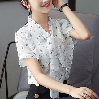 2019夏装新款女装韩版蝴蝶结短袖雪纺衫 夏休闲V领衬衫系带宽松上衣女