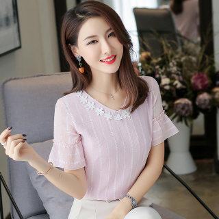 2019夏装新款女装韩版大码雪纺短袖上衣女夏季V领雪纺女款短袖雪纺衫