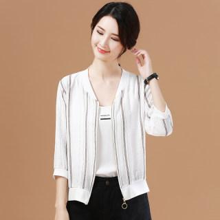 条纹遮肚子雪纺衫空调衫2019夏季女开衫外披洋气薄款短外套防晒衣