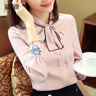 绣花衬衫女2019春装新款韩版女装蝴蝶结上衣时尚粉色长袖雪纺衫