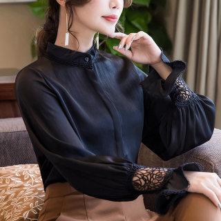 洋气衬衫女2019春装新款女装时尚雪纺上衣立领小衫黑色长袖女衬衣