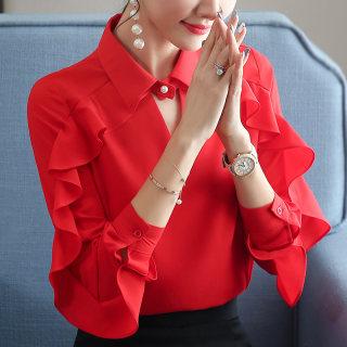 2019春装新款女装韩版打底衫宽松版长袖上衣女时尚的木耳边雪纺衬衫