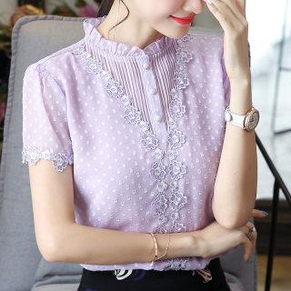 2019夏装新款女装韩版木耳领上衣蕾丝短袖时尚的女士宽松雪纺衬衫