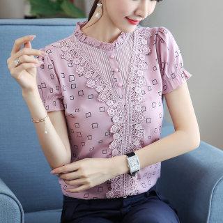 2019夏装新款女装韩版雪纺衬衫女短袖打底衫修身上衣气质雪纺蕾丝