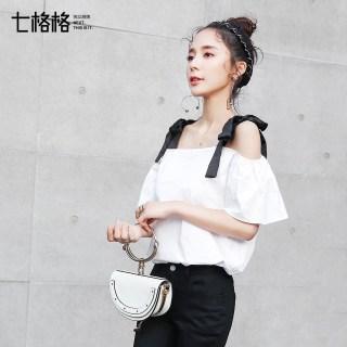纯色黑白撞色系带夏装新款
