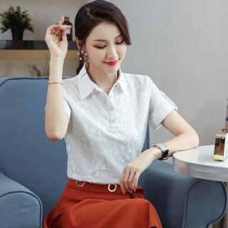 2019夏装新款韩版大码女装雪纺衫宽松显瘦白色女雪纺短袖上衣女夏季衬衣