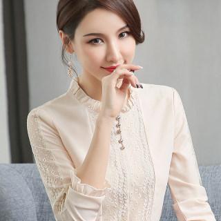 2019春装新款女装洋气长袖雪纺内搭立领上衣套头气质蕾丝女打底衫