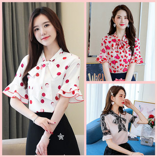 2019夏装新款女装韩版大码雪纺短袖上衣女夏季V领系带时尚雪纺衫