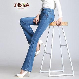 2019春装新款 女高腰微喇叭款韩版显瘦喇叭长裤牛仔裤