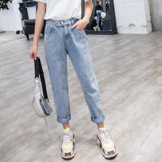 2019夏装新款韩版浅蓝色高腰牛仔裤女百搭显瘦直筒双排扣九分裤子