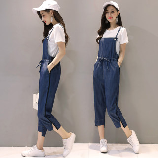 夏装新款时尚韩版显瘦九分裤两件套装吊带牛仔裤