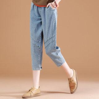 七分裤牛仔裤女夏季2019新款韩版薄松紧腰裤子宽松哈伦休闲裤