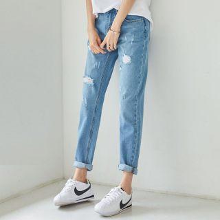 牛仔裤直筒绣花夏装薄款韩版破洞宽松长裤新款