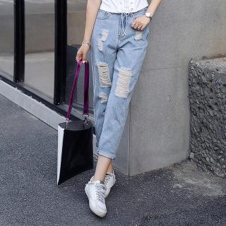 2019夏装新款 高腰显瘦破洞牛仔裤子 女款牛仔裤