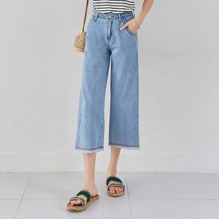 格牛仔裤韩版绣字宽松休闲八分女款牛仔阔腿裤