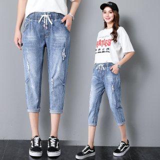 2019夏季新款破洞高腰系带宽松显瘦直筒八分哈伦裤牛仔裤