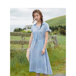 夏亚麻V领收腰显瘦系带纯色A摆连衣裙