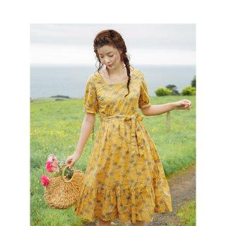 夏方领复古文艺小清新碎花收腰显瘦A字连衣裙