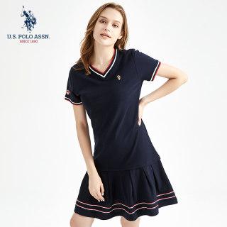 女士夏连衣裙条纹polo裙可爱学生裙中裙
