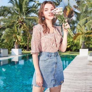 2019夏季新款荷叶边V领蕾丝衬衫中袖印花上衣吊带两件套女仙