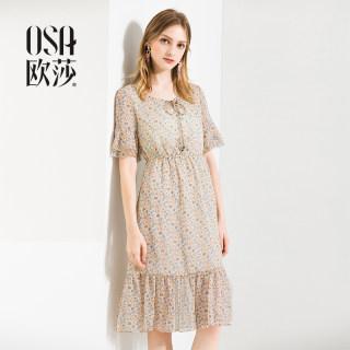 碎花雪纺港味复古夏季荷叶边连衣裙女夏季2019新款气质裙子