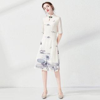 2019春夏新款女装立领印花修身半袖中款旗袍连衣裙