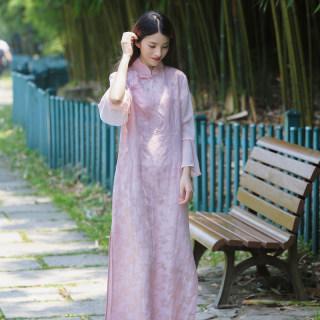 夏季丝麻提花中式休闲连衣裙文艺复古中腰套头立领连衣裙旗袍
