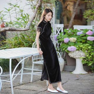 夏季蕾丝边袖口立领开叉连衣裙 休闲气质丝绒文艺旗袍连衣裙