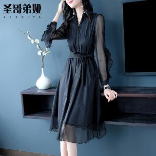 很仙的夏季法国小众连衣裙2019新款时尚女春装气质黑色雪纺长裙性感打底裙