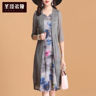 裙子女夏2019新款连衣裙时尚休闲无袖碎花气质两件套韩版V领显瘦套装