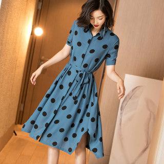 2019夏装新款优雅复古系带收腰显瘦衬衫裙波点短袖连衣裙女