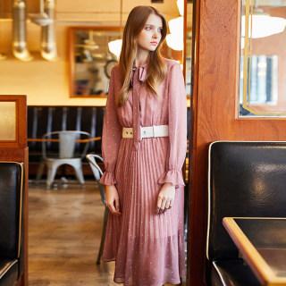 2019春装新款很仙的甜美波点印花长袖中长款连衣裙女装