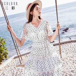 2019夏季新款V领波点收腰高端气质显瘦纯棉小个子连衣裙子女