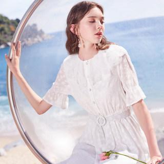 2019夏季新款波点蕾丝娃娃领喇叭袖长裙收腰短袖白色连衣裙女