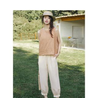 套装夏装圆领无袖波点衬衫橡筋腰束脚休闲裤两件套