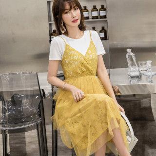 裙子女2019夏季新款文艺清新吊带网纱蕾丝镂空蛋糕裙连衣裙两件套