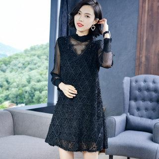 黑色连衣裙女夏季2019新款长袖气质网纱拼接打底裙a字裙