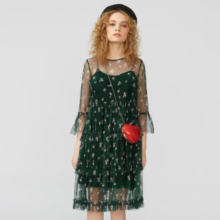 丝绒网纱连衣裙两件套