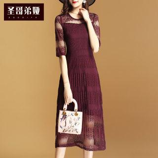 夏季连衣裙女2019新款中袖蕾丝中长款时尚网纱拼接长裙子