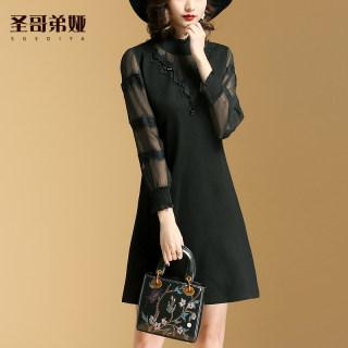 黑色连衣裙女夏季2019新款网纱拼接收腰显瘦气质打底裙子