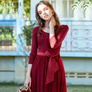 2019春季新款针织网纱假两件法国小众连衣裙修身收腰长裙子女