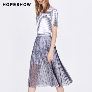 网纱连衣裙女2019夏装新款小清新刺绣短袖条纹两件套波点裙